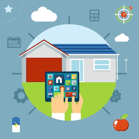 Smart house concept controlled from a tablet by a man navigating an interactive interface with icons depicting various applications on the touchscreen  vector illustration Vector