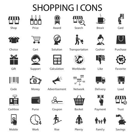 Grandes iconos conjunto para ir de compras y ventas. Desde la elección de los mejores productos a los préstamos y atención al cliente