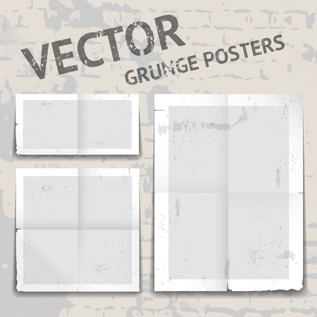 folded paper: Set of three different vector grunge posters with tattered edges  tears  stains and heavy crease or fold lines with white borders and grey copyspace for your text in different shape formats Illustration