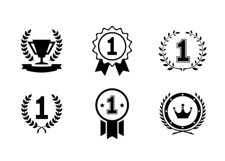 Set of black and white circular vector winner emblems and leader icons with laurel wreaths and ribbon rosettes enclosing the number 1  an award trophy and crown Illustration