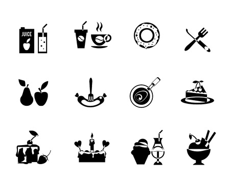 Set of black vector silhouette food icons with twelve different desserts  cake  pizza  sausage  fruit and beverages Vector