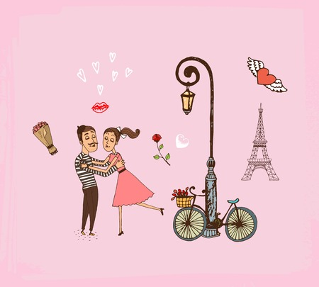 Vector hand-drawn illustration of a loving romantic couple on a Paris vacation running into each others arms alongside a bicycle propped up against an old style lamppost with the Eiffel Tower behind
