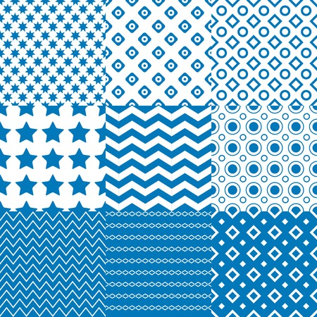 repetition dotted row: Circle  Square  Star Patterns in blue and white colors.