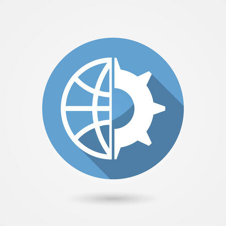 wheal: Circular blue vector global technology icon with a globe and gear wheal for tachnological research and industry
