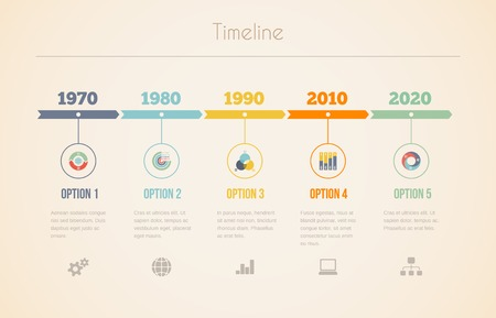 decades: Infographic vector chart of a visual date line in retro colors with five different years at 10 year intervals with information  options and text below Illustration