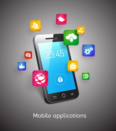 smartphone with clouds and app icons Illustration