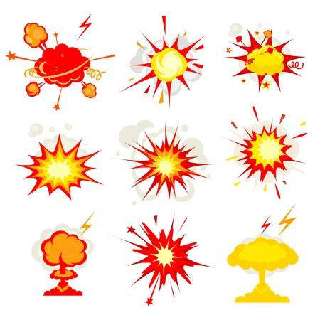 implosion: Explosion, blast or bomb bang fire Illustration