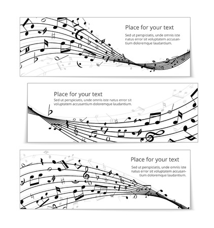 notation: wavy music banners Illustration