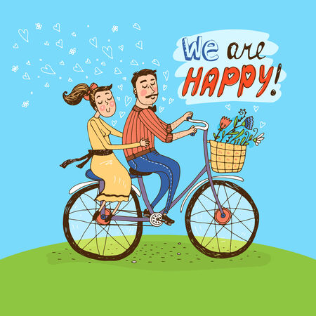 verlobt: Liebevolle Paare ein Fahrrad fahren