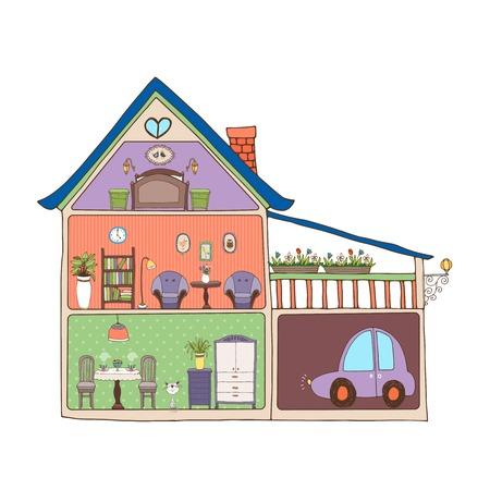 cross section: Home interior design and decor Illustration