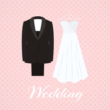 Suit beside wedding dress on pink background