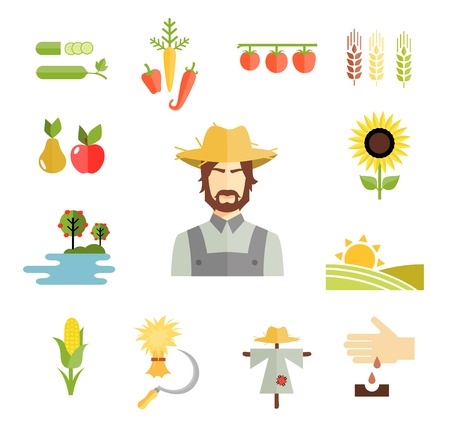 farmer: Farm icons for cultivating crops