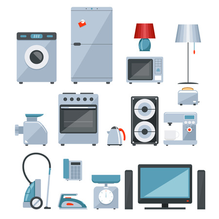 tumble: Colored icons of home appliances