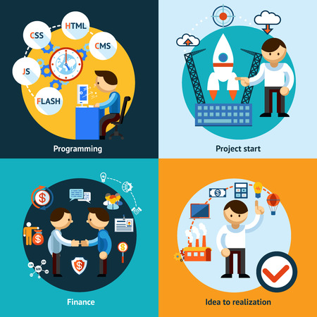 Web development and programming banners concept Illustration