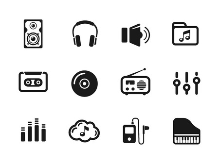 pianoforte: Several music themed icons Illustration