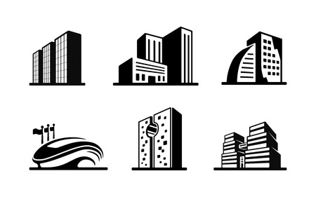 high rise: Set of black and white vector building icons