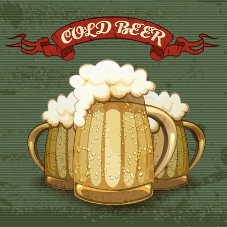 Retro style poster for Cold Beer Vector Illustration