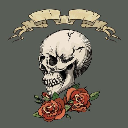 faithfulness: Human skull with roses