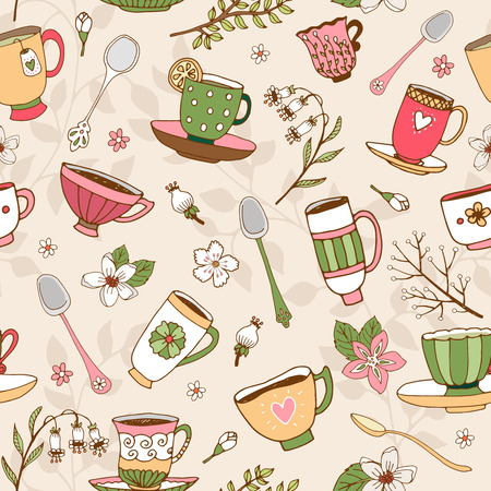 tearoom: Seamless background of tea cups and spoons Illustration
