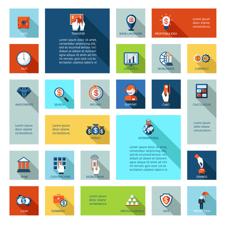e data: flat finance and business icons