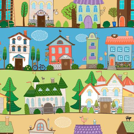 Cute houses  castles and establishments design Vector