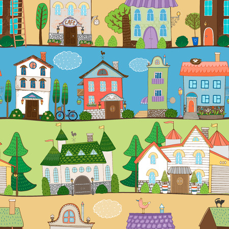 row of houses: Cute houses  castles and establishments design