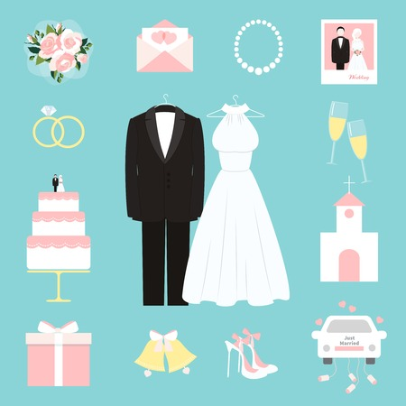 wedding cake illustration: Suit and gown surrounded by wedding icons Illustration