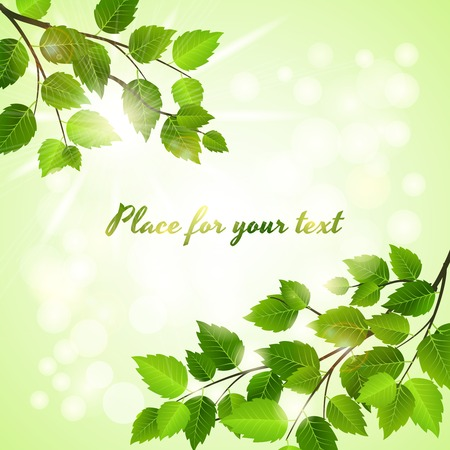verdant: Fresh green background with spring leaves Illustration