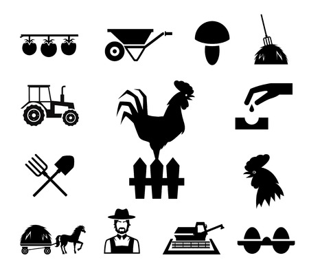 implements: Rooster on fence surrounded by farm themed icons Illustration