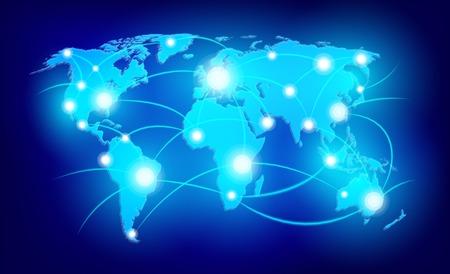 Mappa del mondo con punti luminosi