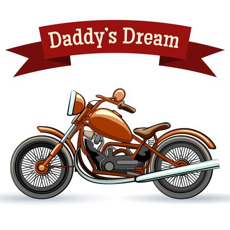 предмет коллекционирования: Цветные ретро-дизайн мотоцикла Иллюстрация