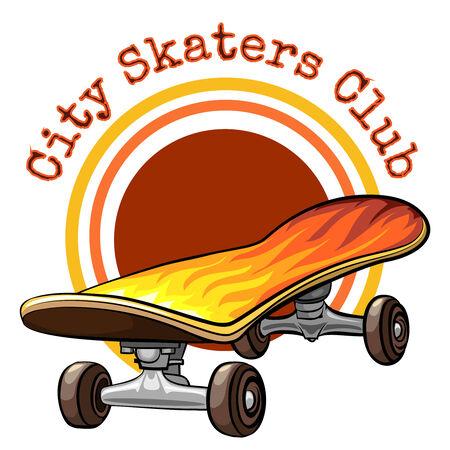 roller skates: Vector skateboard emblem