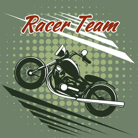 roadster: Classic motorcycle race team design Illustration