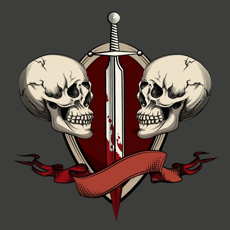 Two skulls with tattoo Vector