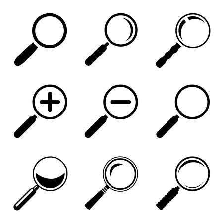 scrutiny: Magnifier Glass Icons Illustration