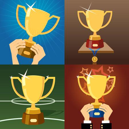 award trophy: Set of four gold trophies or cups Illustration