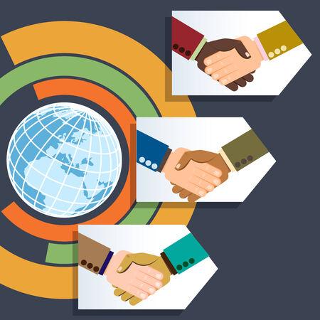 manos estrechadas: Todo el mundo los apretones de manos de negocios multi�tnica Vectores