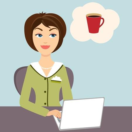 hot secretary: Secretary with mug of hot coffee Illustration