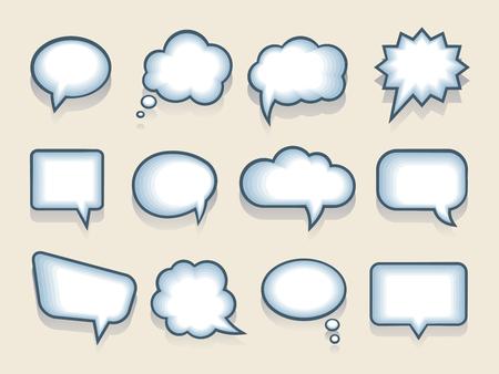 音声や思考の泡のセット