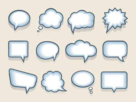 Set of speech or thought bubbles