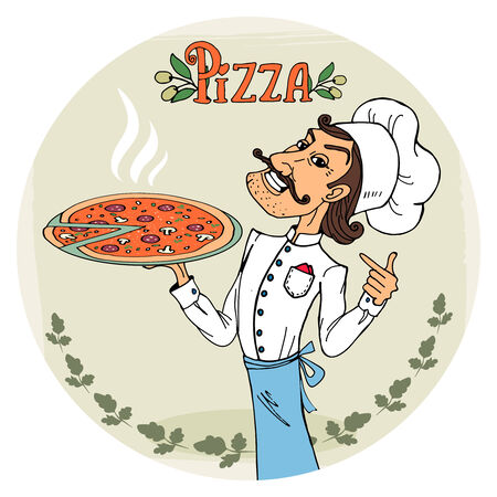 pointing herbs: Italian chef with a steaming hot pizza Illustration