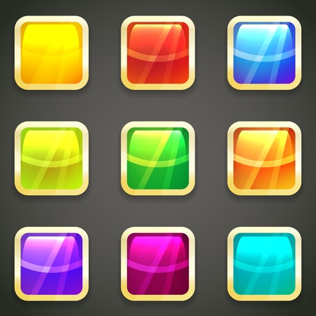 spectral color: Set of vibrant bright glossy web buttons