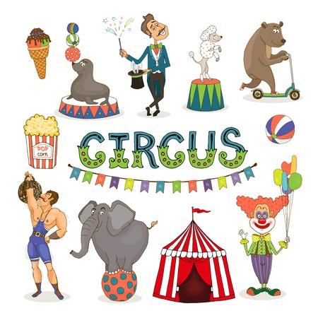 Vector circus  funfair and fairground icon set Vector