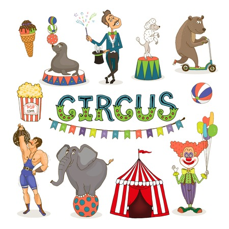 performers: Vector circus  funfair and fairground icon set Illustration