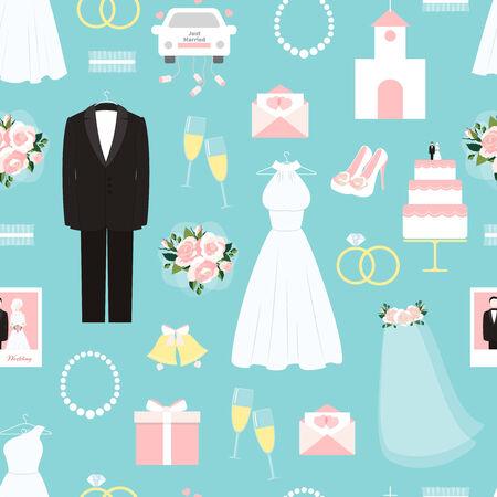 bridal dress: Wedding seamless background pattern