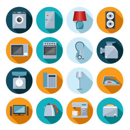 household goods: Set of household appliances flat icons