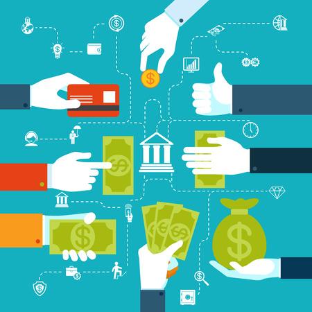 efectivo: Diagrama de flujo financiero Infograf�a para la transferencia de dinero Vectores