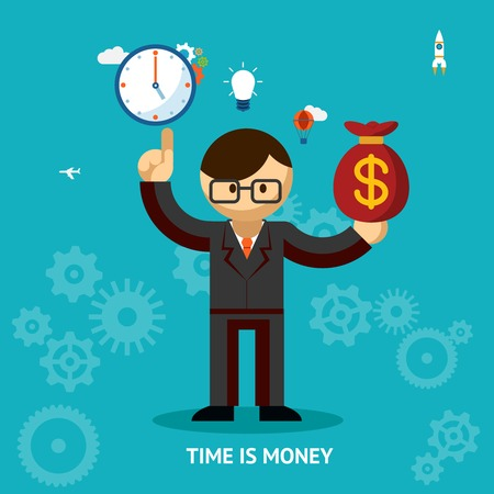 waste money: Time Is Money business concept
