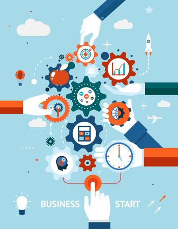 Bedrijfsleven en ondernemerschap bedrijf start Stock Illustratie