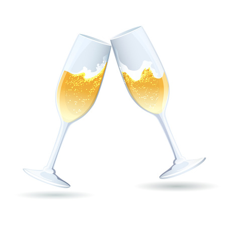 clinking: Two flutes of golden bubbly champagne